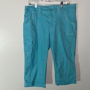 Seafoam Cargo Capri Pants